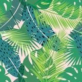 Тропическая печать лета с ладонью картина безшовная бесплатная иллюстрация
