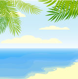 Тропическая предпосылка лета с океаном, листьями ладони и пляжем Стоковое Изображение RF