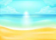 Тропическая предпосылка песка и пляжа океана Стоковая Фотография