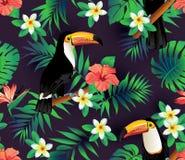 Тропическая предпосылка птиц и листьев ладони безшовная Стоковая Фотография