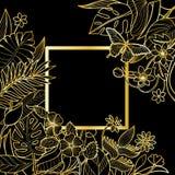 Тропическая рамка квадрата золота Стоковая Фотография