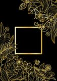 Тропическая рамка квадрата золота Стоковая Фотография RF