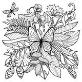 Тропическая страница расцветки Стоковое Изображение RF