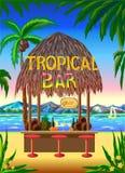 Тропическая сценарная предпосылка бара пляжа Стоковая Фотография