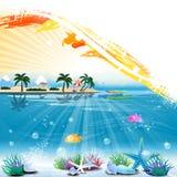 Тропическая сцена с подводным местом жизни и текста Стоковые Изображения RF