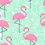 Тропическая ультрамодная безшовная картина с розовыми фламинго и листьями ладони мяты зелеными