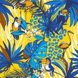 Тропическая флористическая безшовная ладонь картины предпосылки выходит, цветки, птицы, леопард Стоковые Изображения