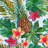 Тропические ананас, цветки и листья акварели с тенями Стоковые Изображения