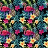 Тропические ананас, цветки и листья акварели с тенями Стоковая Фотография