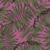 Тропические ветви на розовой предпосылке безшовный вектор Стоковое Фото