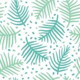 Тропические голубые листья ладони или ferm картина безшовная также вектор иллюстрации притяжки corel Стоковые Фотографии RF