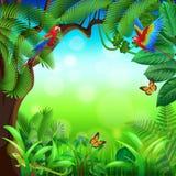 Тропические джунгли с предпосылкой вектора животных иллюстрация вектора
