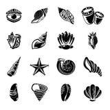Тропические значки раковины моря установили, простой стиль бесплатная иллюстрация