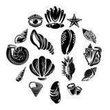Тропические значки раковины моря установили, простой стиль иллюстрация вектора