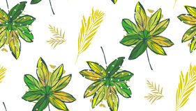 Тропические листья ладони, джунгли выходят безшовная предпосылка цветочного узора вектора Стоковое Изображение