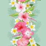 Тропические листья и предпосылка цветков картина безшовная иллюстрация вектора