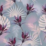 Тропические листья и цветки пальмы картина безшовная иллюстрация штока