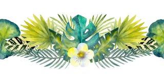 Тропические листья Повторение границы лета горизонтальной r Составы акварели для дизайна  иллюстрация вектора