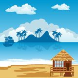 Тропические остров и взморье Стоковое Изображение