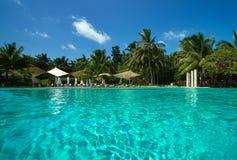 Тропические пляж и бассейн стоковое фото rf