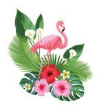 Тропические состав и фламинго также вектор иллюстрации притяжки corel Стоковая Фотография RF
