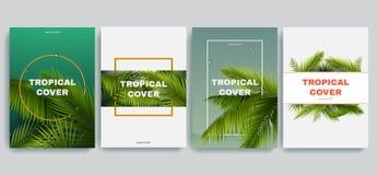 Тропические установленные крышки a4 Гаваиское собрание предпосылок exotics Листья ладони с рамками Польза для вашего дизайна лета Стоковые Фото