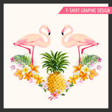 Тропические цветки и графический дизайн фламинго Стоковое Изображение