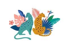 Тропические экзотические животные и птицы - леопарды, тигры, попугаи и иллюстрация вектора toucans Дикие животные в бесплатная иллюстрация