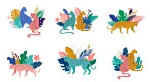 Тропические экзотические животные и птицы - леопарды, тигры, попугаи и иллюстрация вектора toucans Дикие животные в иллюстрация штока