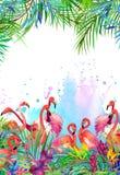 Тропические экзотические птица, листья и цветки иллюстрация штока