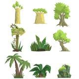 Тропические элементы ландшафта леса Стоковое Изображение RF