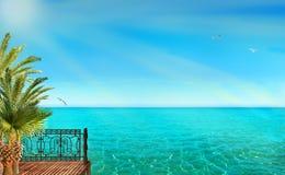 Тропический ландшафт с голубыми морем и пальмами Стоковые Изображения RF
