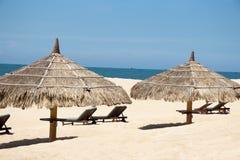 Тропический взгляд пляжа с зонтиками и шезлонгами стоковое фото