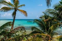 Тропический взгляд рая с шлюпкой Стоковое Фото