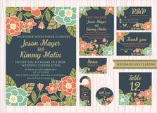 Тропический год сбора винограда приглашения свадьбы цветка Стоковые Фотографии RF