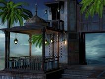 Тропический дворец на ноче иллюстрация штока