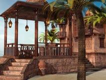 Тропический дворец на пляже иллюстрация штока