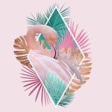 Тропический дизайн фламинго листьев в свете - пинке, бирюзе и золотых цветах стоковое изображение rf