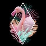 Тропический дизайн фламинго листьев в свете - пинке, золотом, бирюзе на черноте стоковые изображения