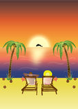 тропический заход солнца на пляже Стоковые Фото