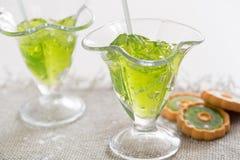 Тропический зеленый коктеиль с лимоном и свежей мятой Стоковые Фотографии RF