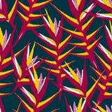 Тропический имбирь детализировал patte флористического дизайна вышивки безшовное иллюстрация вектора