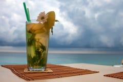 Тропический коктеиль на пляже Стоковое фото RF