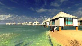 Тропический курорт на заходе солнца бесплатная иллюстрация