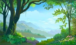 Тропический лес, большое дерево, заводы и цветки, горы и реки бесплатная иллюстрация