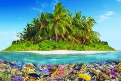 Тропический остров в океане и красивом подводном мире Стоковое Фото