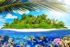 Тропический остров в океане и красивом подводном мире Стоковое Изображение RF