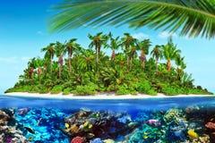 Тропический остров в океане и красивом подводном мире Стоковое Изображение