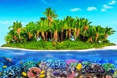 Тропический остров в океане и красивом подводном мире Стоковая Фотография
