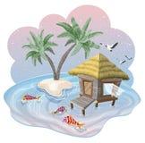 Тропический остров в океане с пальмами и бунгало на красивом заходе солнца иллюстрация вектора